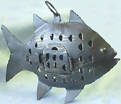 Iron Fish Lantern w/Closed Door