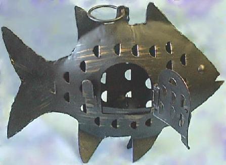 Iron Fish Lantern w/Open Door