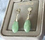 Medium Green Jade Earrings