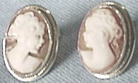 Handcarved Silver Cameo Earrings, Front View