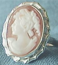 Handcarved Silver Cameo Ring, Front View