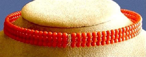 Triple Strand Red Coral Choker