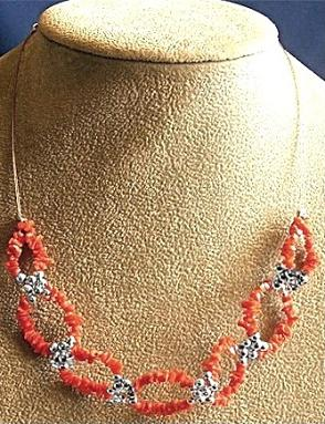 Silver and Red Coral Chips Necklace
