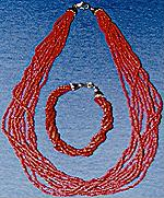 Red Coral Bacelet/Necklace Set