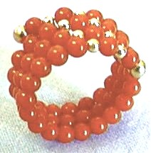 Red Coral Spiral Ring, Side View