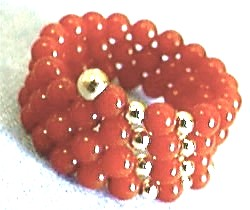 Red Coral Spiral Ring, Front View