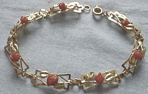 Carved Red Coral Roses Bracelet, Closeup View