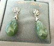 Dark Green Jade Earrings