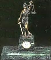 Lady Justice, Pen Holder with Clock Version