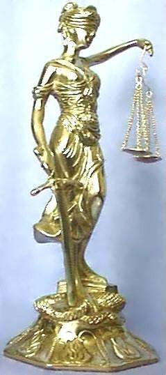 Brass Lady Justice, Front View